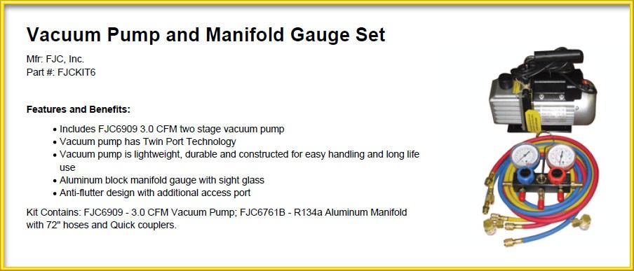 New FJC A/C Vacuum Pump & R134 Manifold Gauge Set KIT6