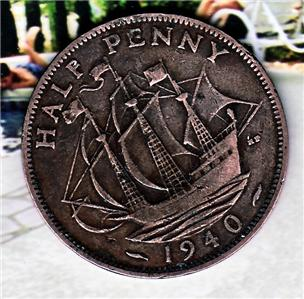 Coins Uk Great Britain 1940 half penny coin Free S/h ...
