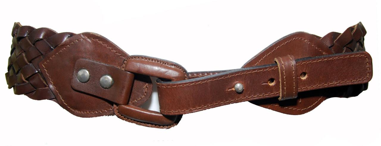 brown genuine leather wide plaited s belt size