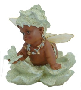 African American Black Baby Girl Angel Wings Riding Clouds ...