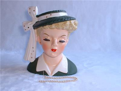 Vintage 1956 Napco Angela Landsbury Lady Head Vase Ebay