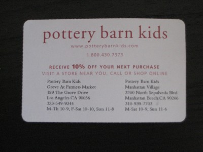 pottery barn kids 10 off purchase coupon exp 4 8 2012 ebay. Black Bedroom Furniture Sets. Home Design Ideas