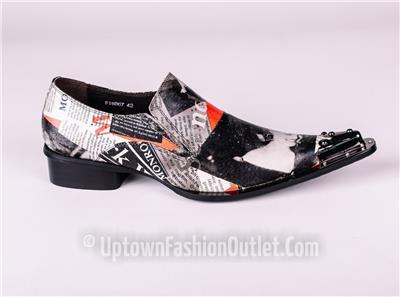 New Men S Fiesso Marilyn Monroe Print Pointed Metal Toe Slip On Shoes Fi 6867