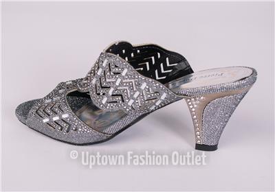 412554c0d46c Women s Pierre Dumas Low Heel Church Formal Dress Pewter Sandals Evelyn-1