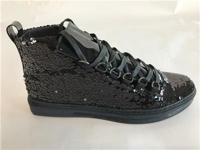 Encore by Fiesso Black Fashion High Top Sneakers with Glitter and Spikes FI 2369