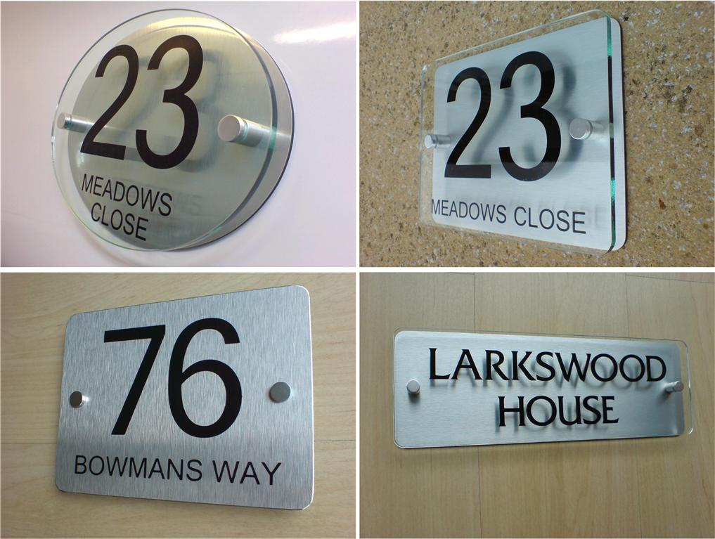 House number door sign plaque modern frosted glass effect for Modern house number plaques