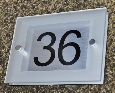 modern house sign number plaque aluminium acrylic etched. Black Bedroom Furniture Sets. Home Design Ideas