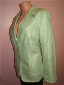 ESCADA 14 44 Pretty Green Designer Womens Wool Silk Linen Gorgeous ... abec550a8