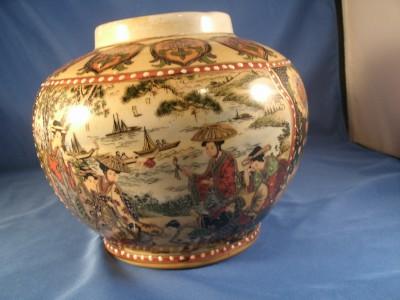 Hand Painted Satsuma Vase Vase And Cellar Image Avorcor