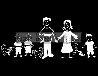STICK FIGURE PEOPLE FAMILY with NAME Vinyl Car Auto Window Decal Craft