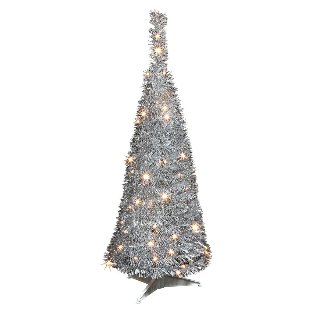 Silver Tinsel Pop Up Christmas Tree: Pre-Lit Pop-Up Christmas Tree, Tinsel Tree, 3ft Black Or