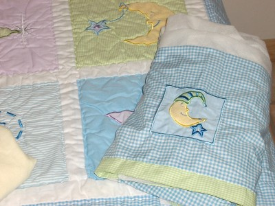 5 Pc Quot Moon Amp Stars Quot Gingham Crib Bedding Set By Tiddliwink