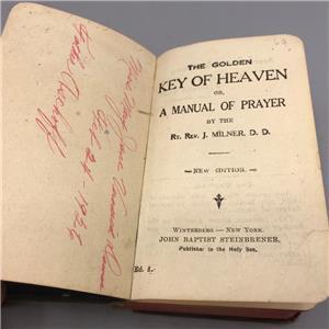 Details about Vintage Pocket Key Of Heaven Prayer Book John Milner  Steinbrener 1920's