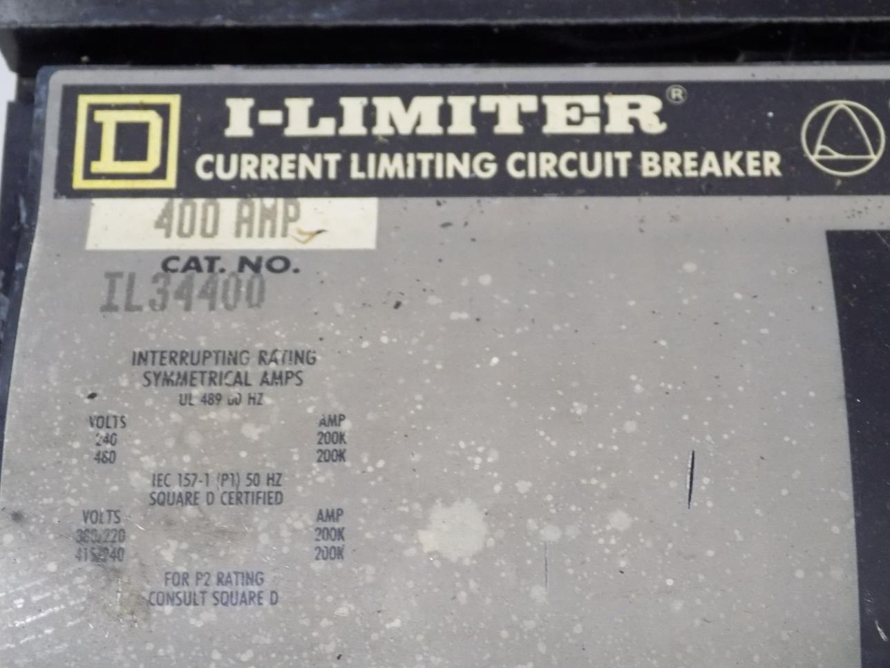 Square D 400amp 3 Pole I Limiter Current Limiting Circuit Breaker Il34400
