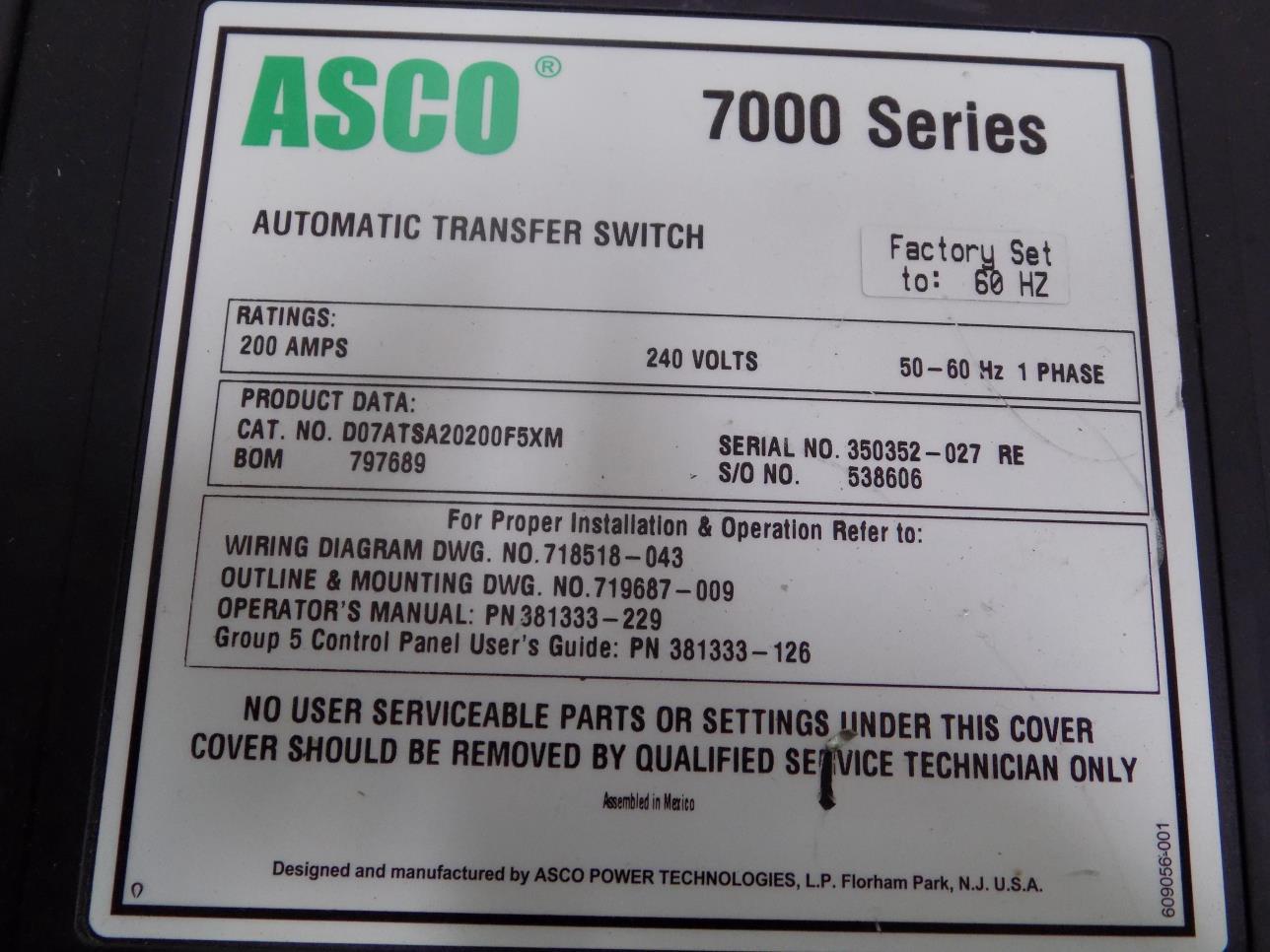 Asco 7000 Ser 200a 240v 1ph 50 60hz Automatic Transfer Switch Wiring Diagrams Further D07atsa20200f5xm