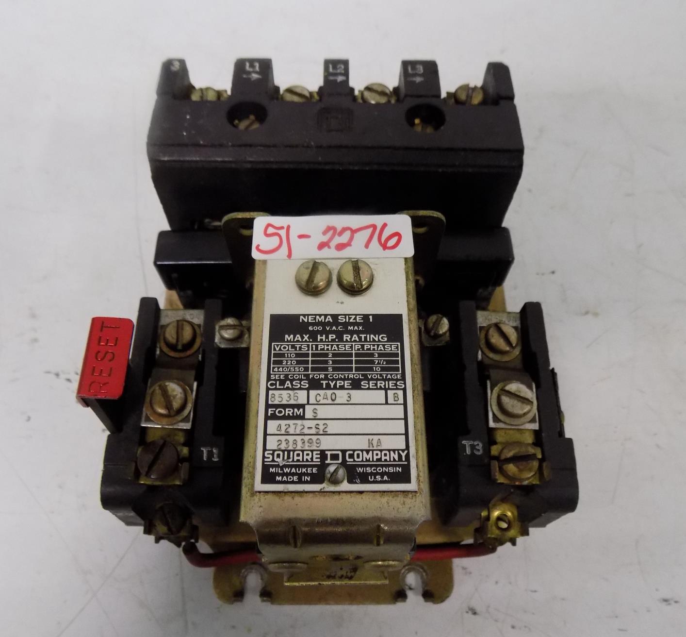 Square D 600v Nema Size 1 Motor Starter Class 8536 Type