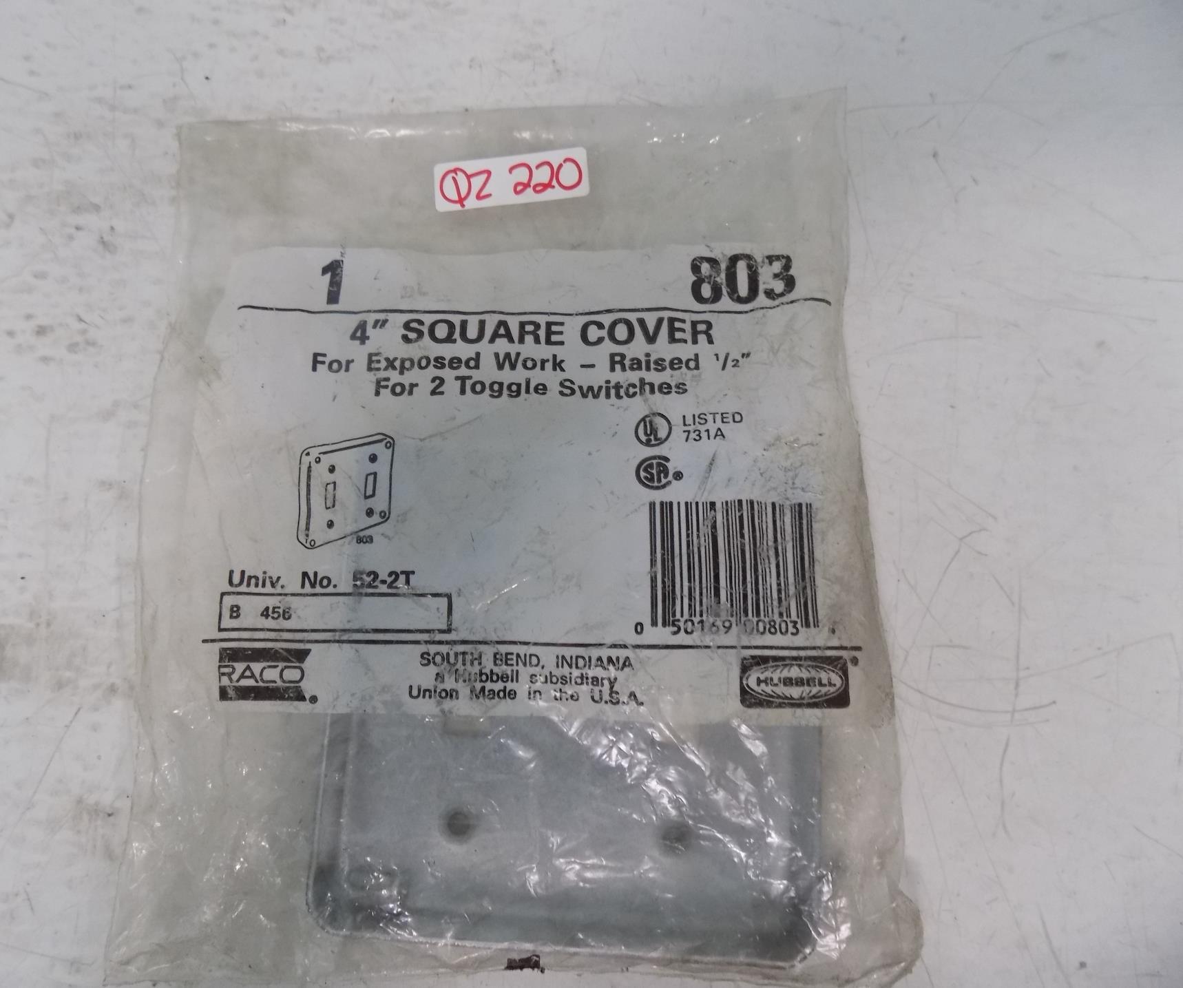 """Raco 803 52-2T 4/"""" Square Box Cover 2 Toggle Switch Galvanized  4/""""x 4/""""x 1//2/"""" 1"""