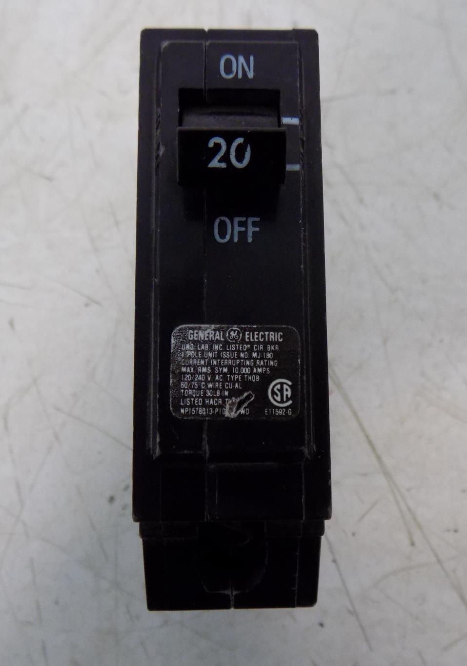 THQB 20A SINGLE POLE CIRCUIT BREAKER GENERAL ELECTRIC