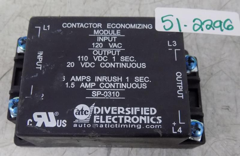 Diversified Electronics SP-0310 Contactor Economizing Module 120VAC