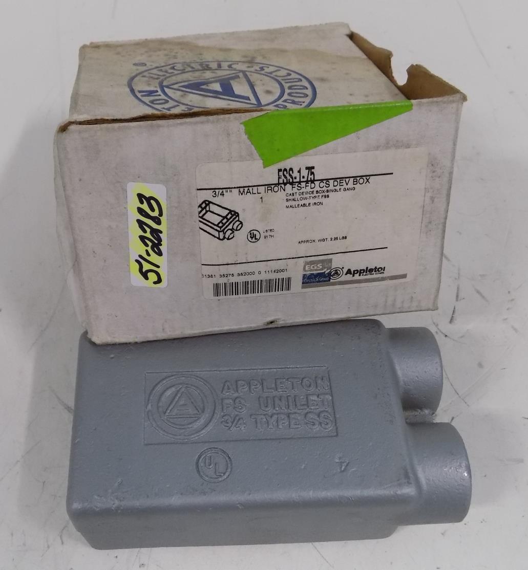 "Appleton FDT-1-75  3//4/"" Malleable Iron Cast Device Box Single Gang ~ New In Box"