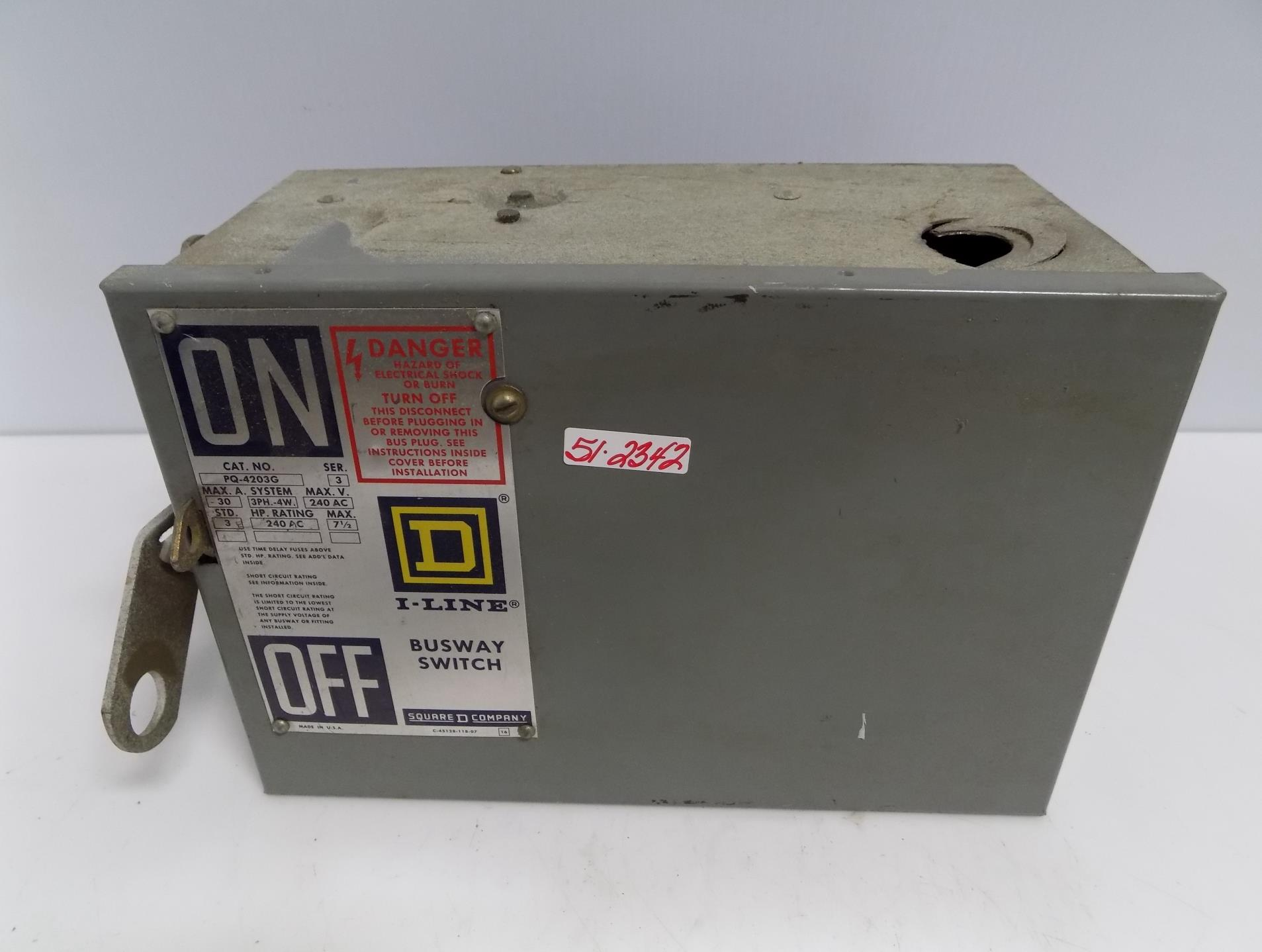 600V WITH GROUND RECON 30 AMP PQ3603G OLD STYLE SQUARE D BUSWAY SWITCH PLUG