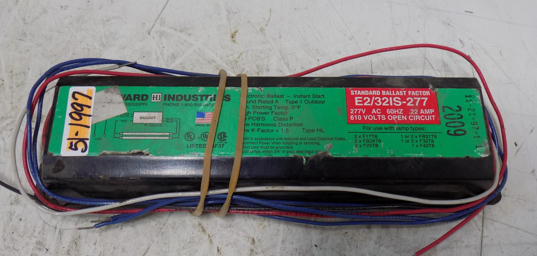 2 F32T8 Howard Industries E2//32IS-277 277-Volt Ballast for or FB24T8 Bulb 277V