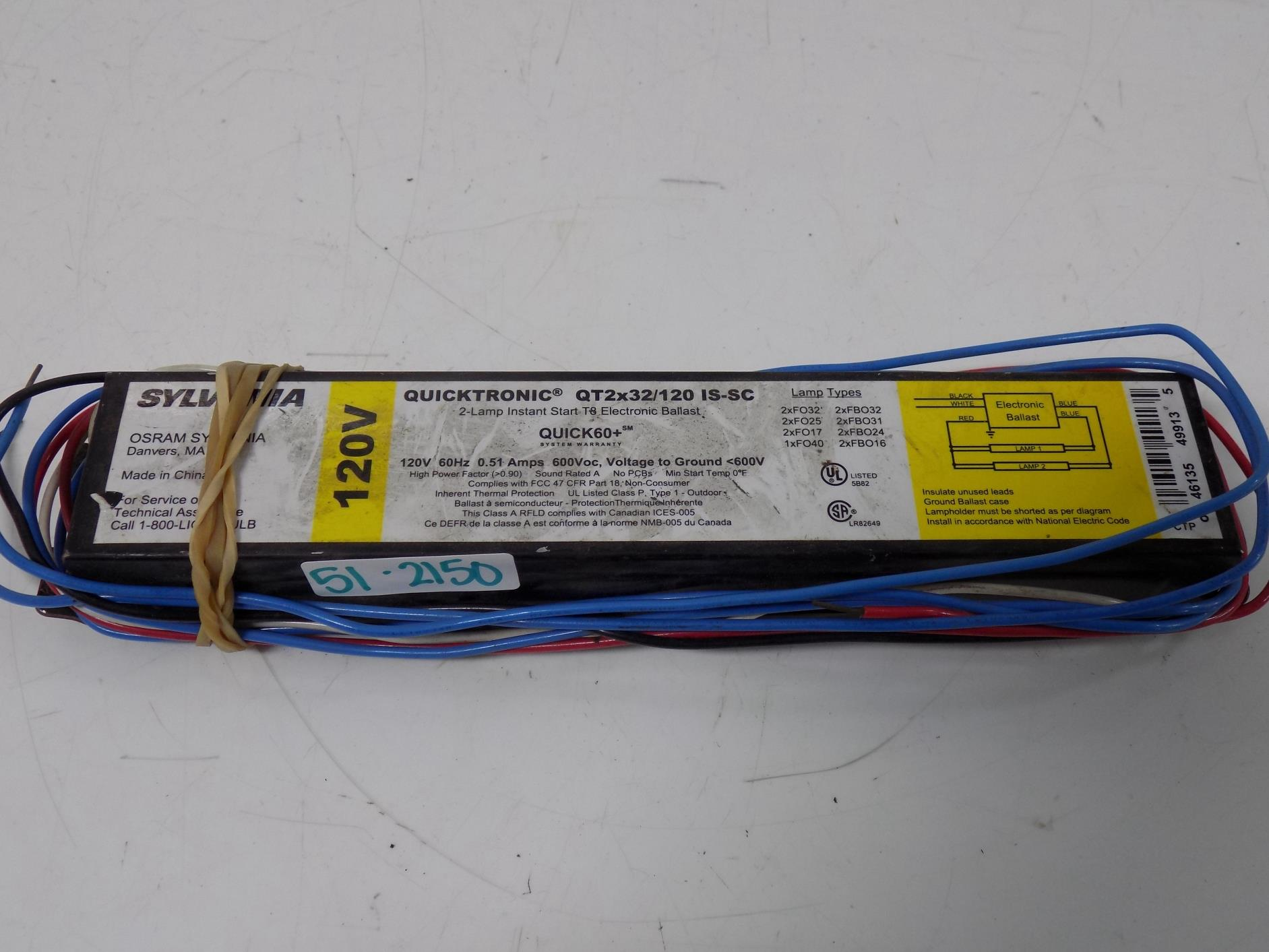 SYLVANIA QUICKTRONIC 120V 3 LAMP INSTANT START BALLAST QT 3X32//120 LP