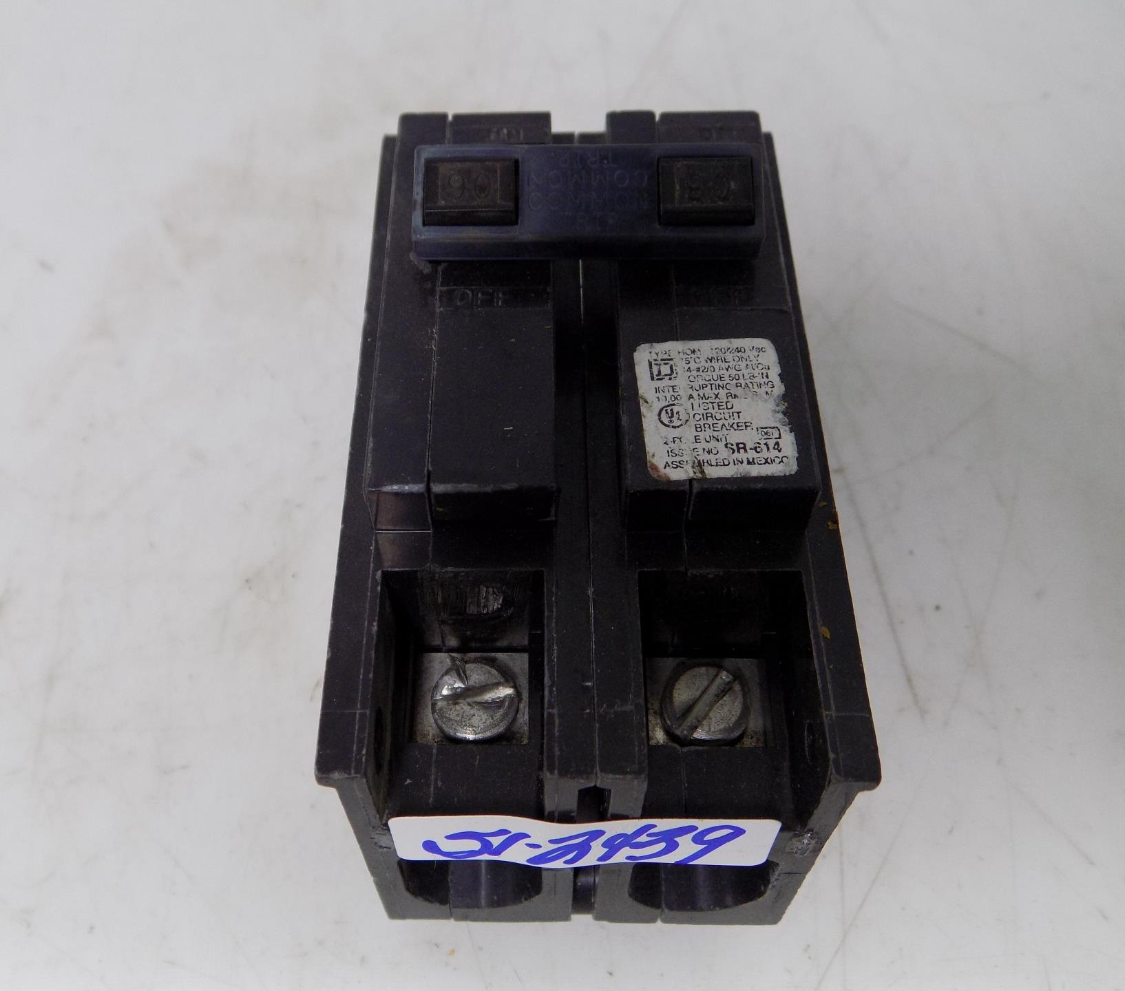Square D Homeline Electrical Circuit Breaker 90 Amp 2 Pole Standard Trip Plug In