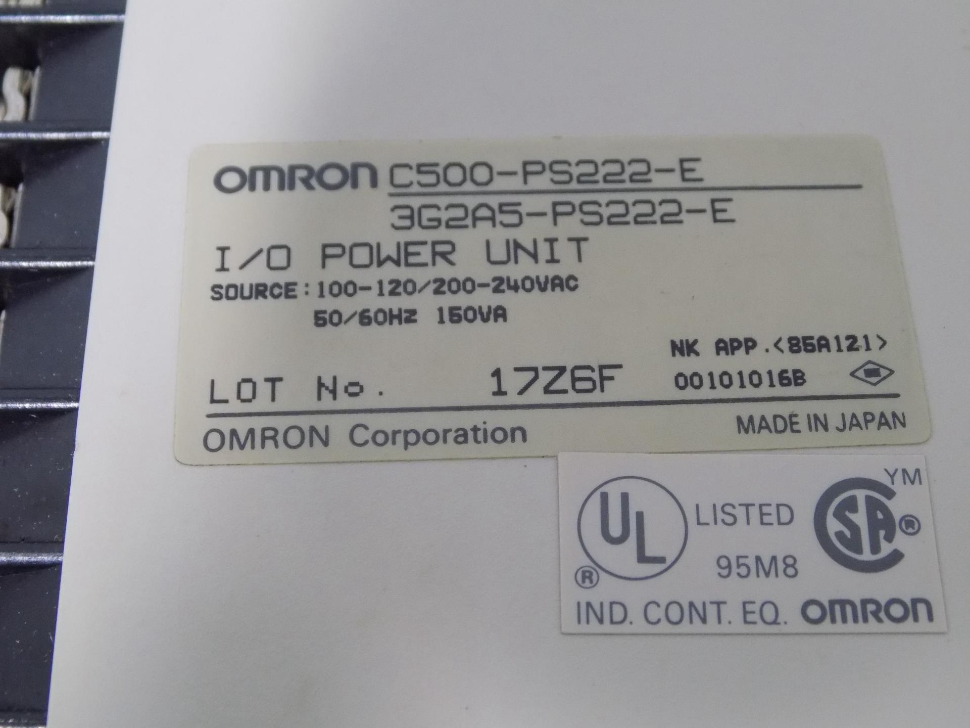 150VA Used // C500-PS222 OMRON 3G2A5-PS222 //// I//O POWER UNIT