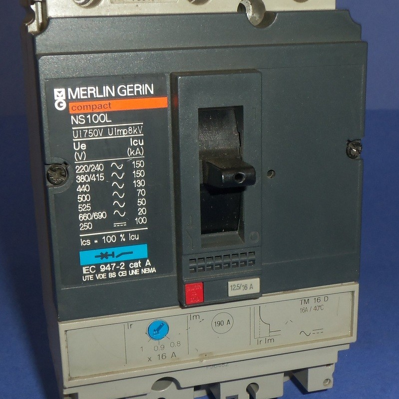 Merlin Gerin 16a 3 Pole Circuit Breaker Ns100l Tm 16 D