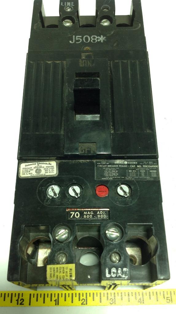 GE 600VAC 250VDC 225A 2-POLE CIRCUIT BREAKER TFK226F000