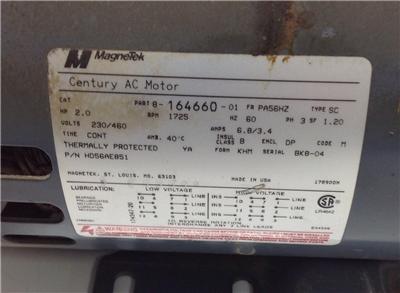 Magnetek Century Sc 1725rpm 3ph 2hp Ac Motor 8 164660 01