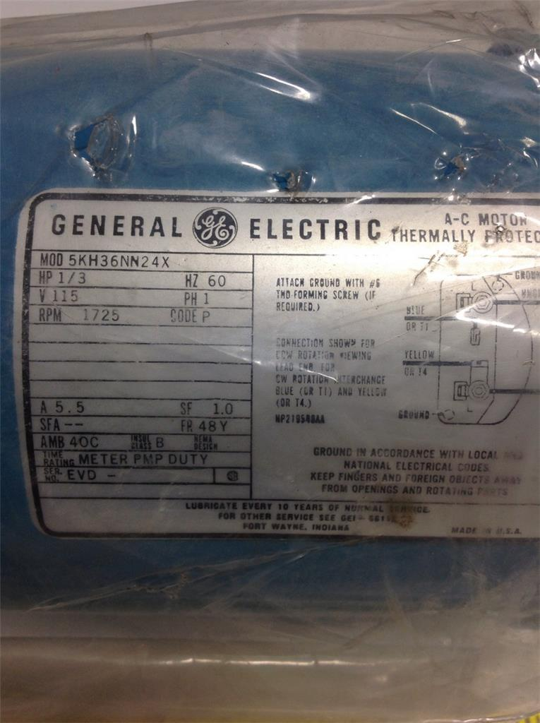 Ge 60hz 115v 1ph 1 3hp Thermally Protected Ac Motor