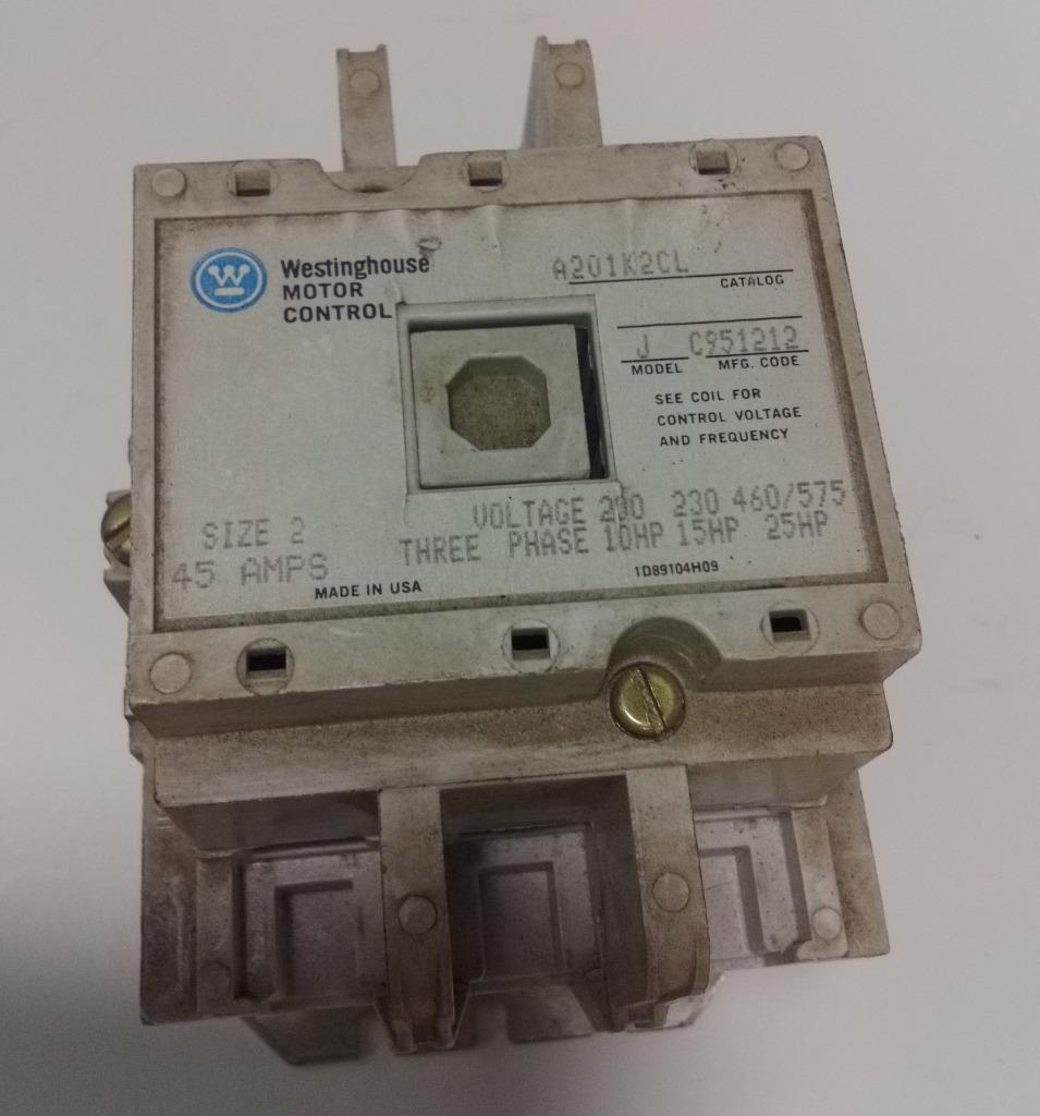 Westinghouse 200v 10hp size 2 motor control a201k2cl ebay for Westinghouse ac motor 1 3 hp