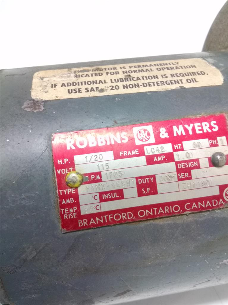 Robbins myers 1 20 hp 115 volt 1725 rpm motor ebay for Robbins and myers replacement motors