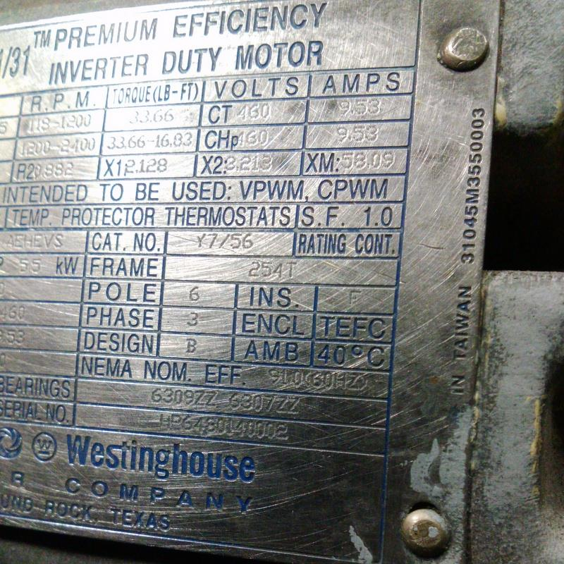 TECO WESTINGHOUSE FRAME 254T 3PH 230/460V 1170RPM 7.5HP MOTOR TYPE ...
