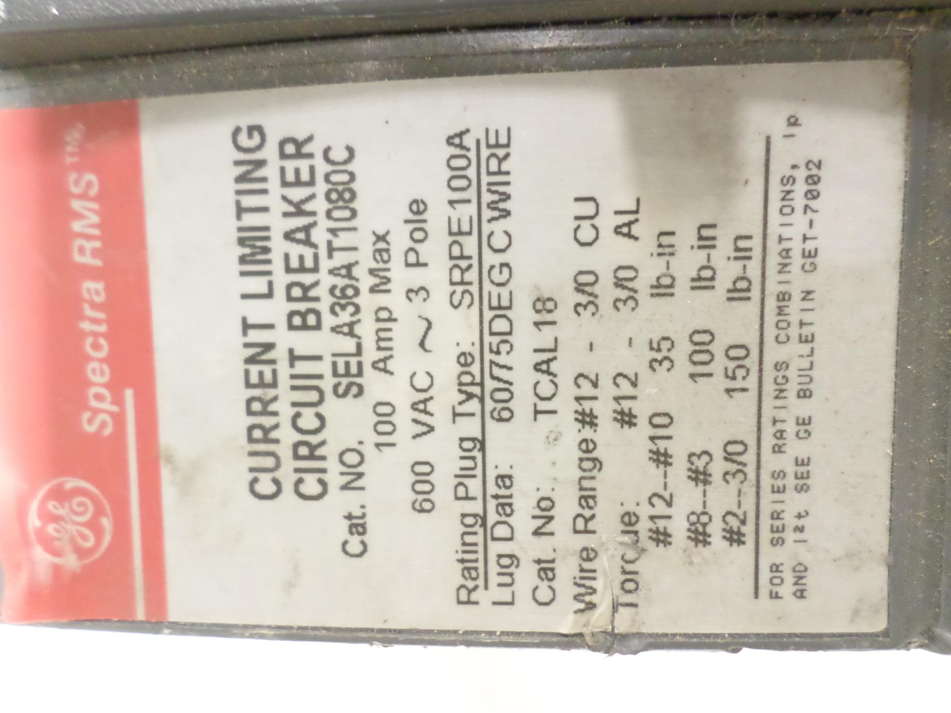 Ge Spectra Rms Current Limiting Circuit Breaker 3 Pole 100amp Sela36at1080c Lsjch07152016 Shelf51 15971 Jobcodece62816