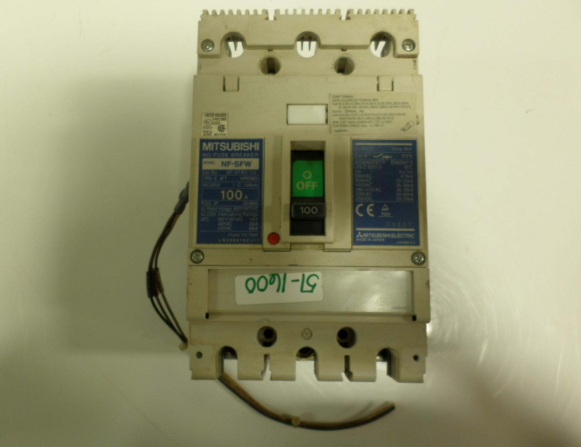 Mitsubishi 3 Pole 100 Amp No Fuse Breaker Nf Sfw3 Ebay Upgrade Box To Circuit Breakers