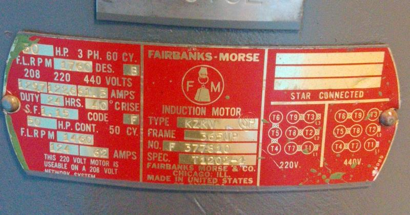 Fairbanks Morse Frame 365up 208 220 440v 50hp Vertical