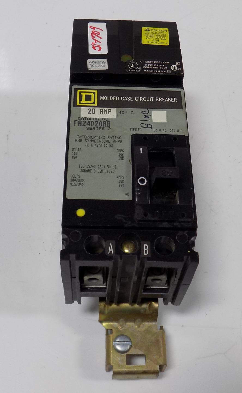 SQUARE D 20A 2P 480VAC//250VDC MOLDED CASE CIRCUIT BREAKER FA24020AB SER 2
