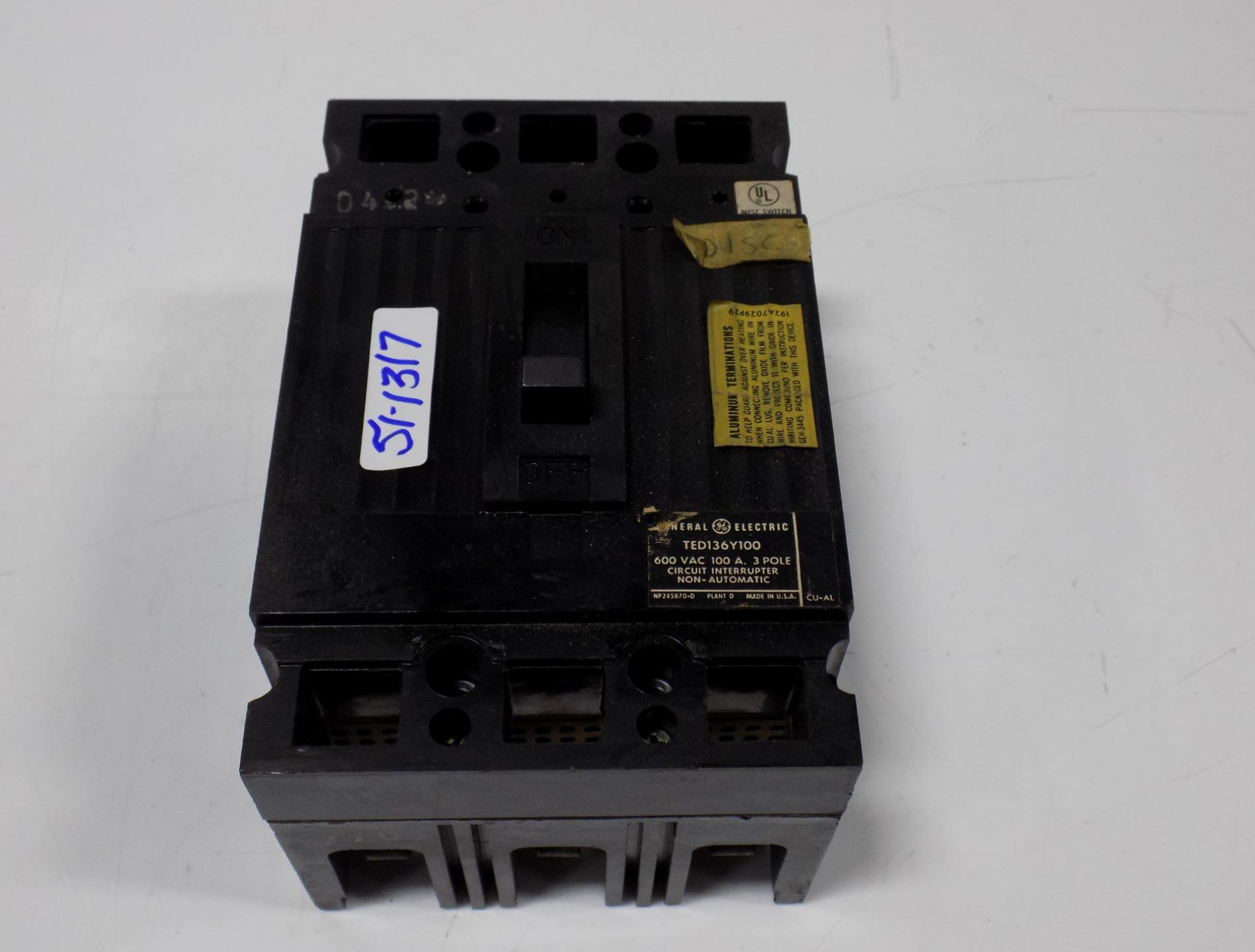 Details About General Electric 600 Vac 100 Amp 3 Pole Circuit Breaker Ted136y100