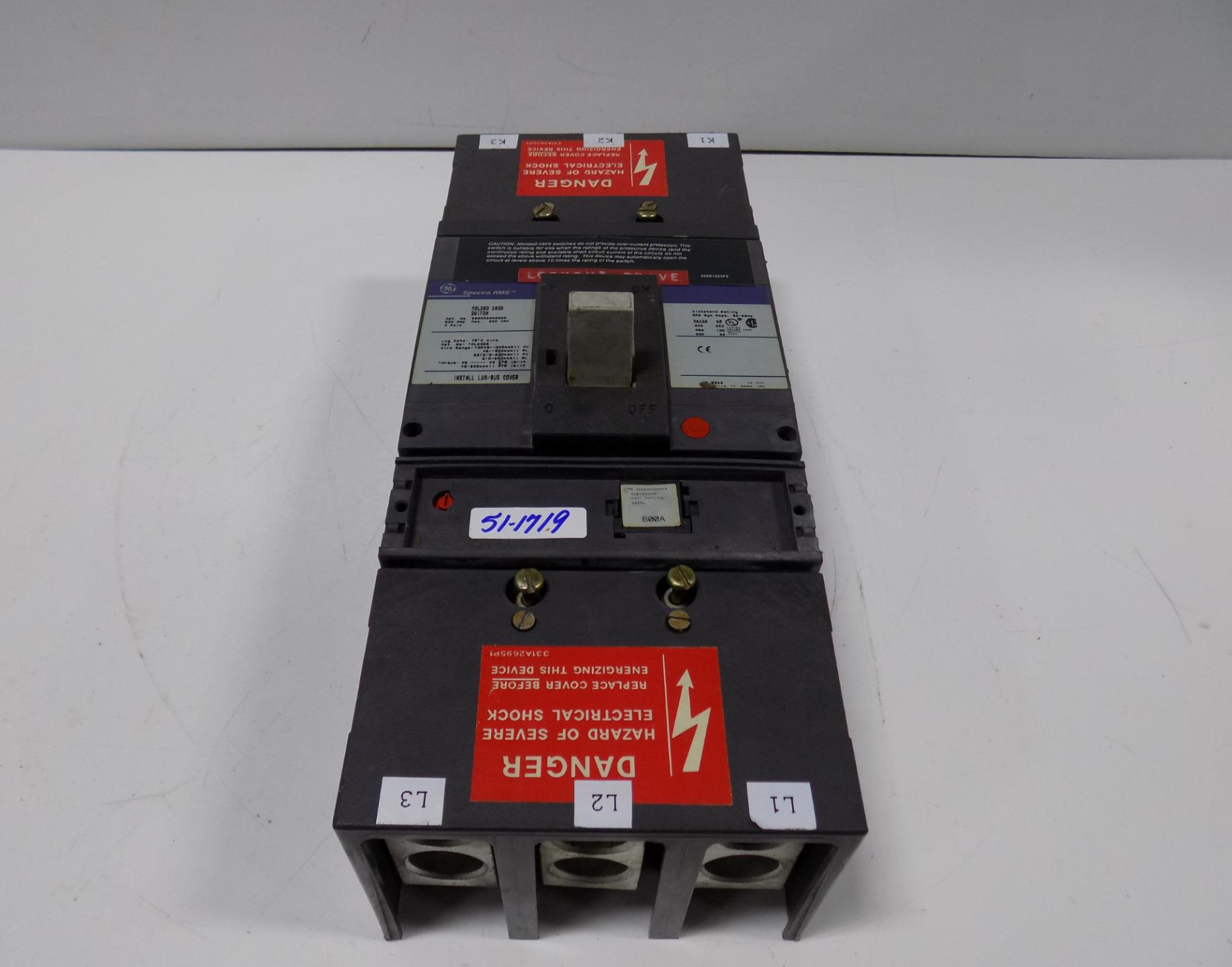 ge spectra rms molded case switch 600 amp 3 pole sgda36an0600 ebay. Black Bedroom Furniture Sets. Home Design Ideas
