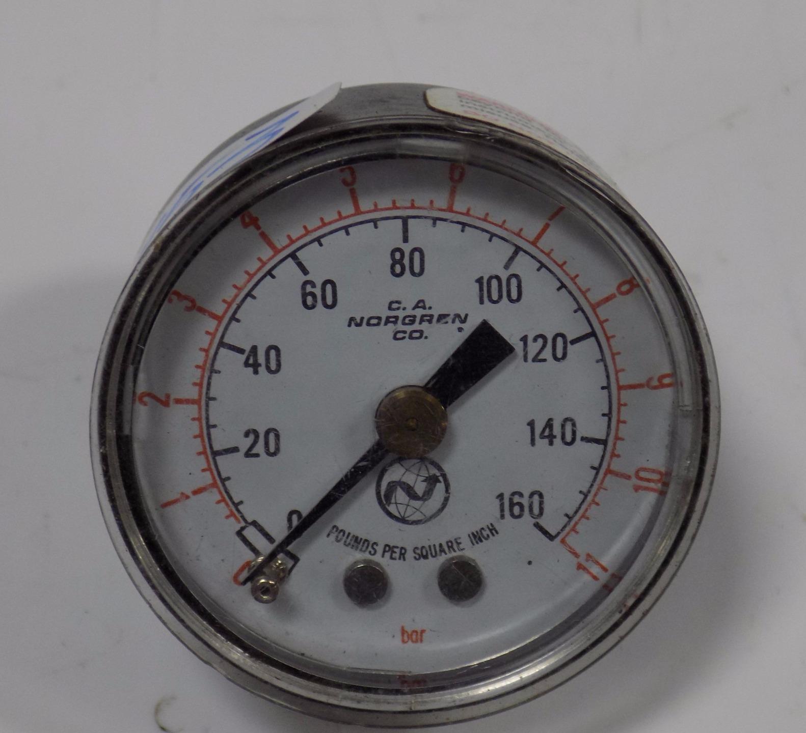 """= Lot of 4 Norgren Pressure Gauges 160 PSI 2/"""" Diameter Face Back Mount USA Made"""