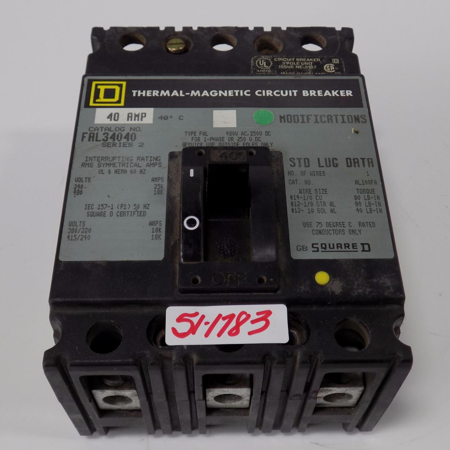SQUARE D 40A THERMAL-MAGNETIC CIRCUIT BREAKER FAL34040 SER-2 | eBay