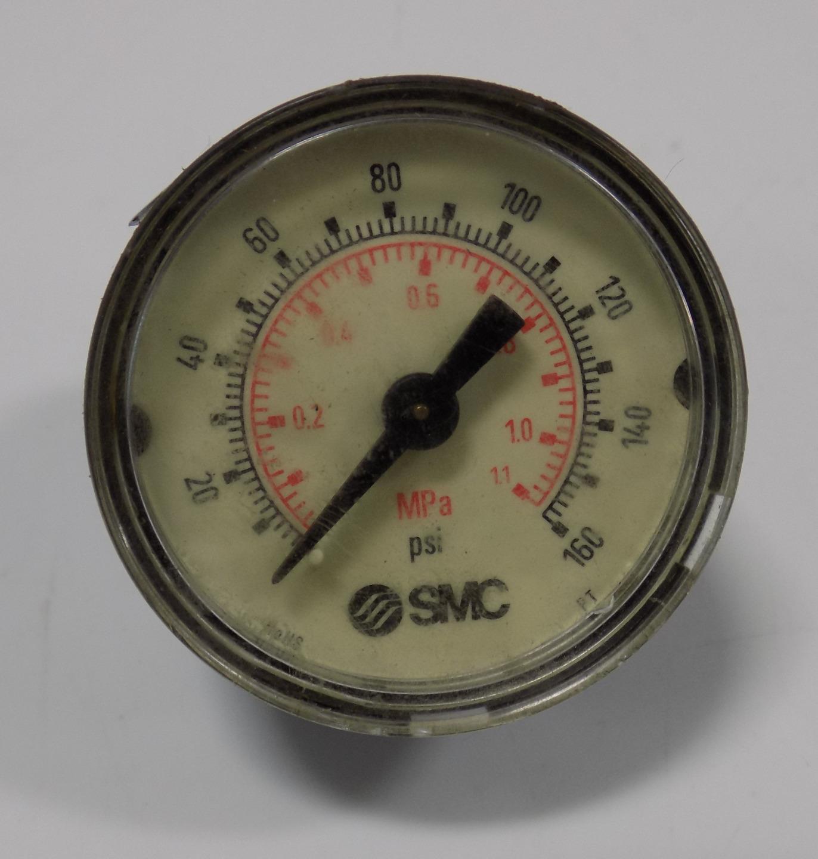 "SMC 111.12 Pneumatic Pressure Gauge R1//8-IS07 CBM M5  1.5/"" 160PSI//MPA"