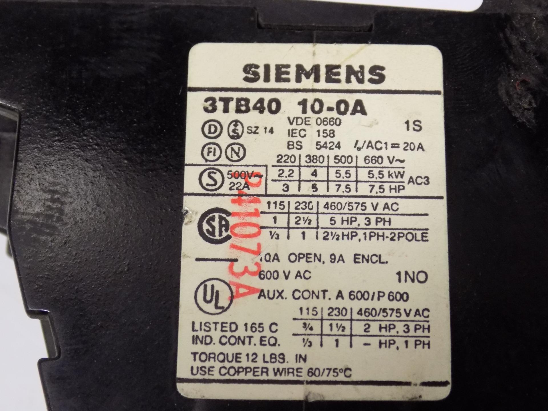 SIEMENS 600VAC CONTACTOR 3TB40 10 0A LSJCH05242017 SHELF51 18078