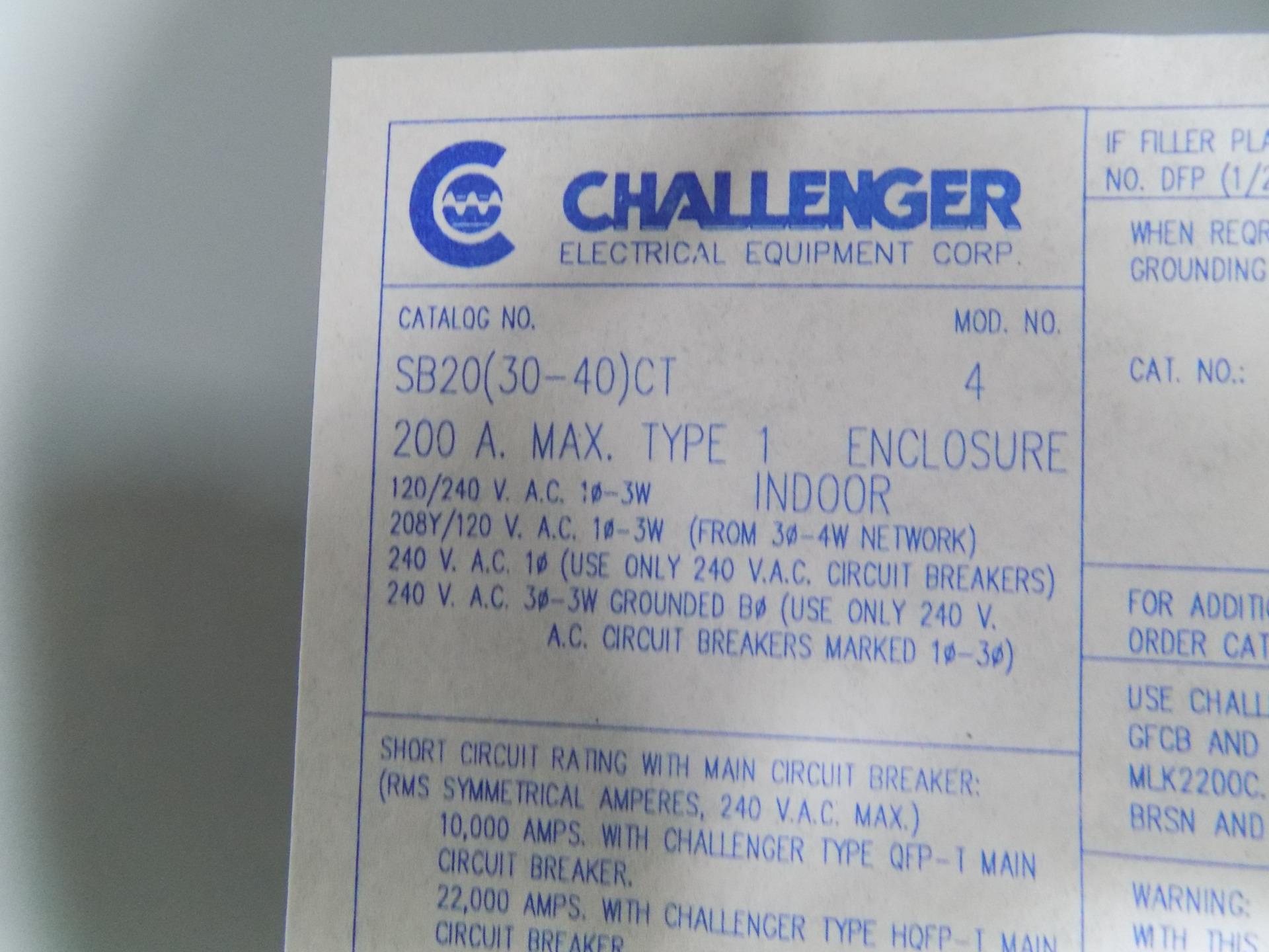 CHALLENGER BREAKER PANEL BOX 200AMP SB20 (30-40) CT NIB LS*JCH.03.08.2018*  SHELF*51-1954(1)* JOBCODE*FL2718*