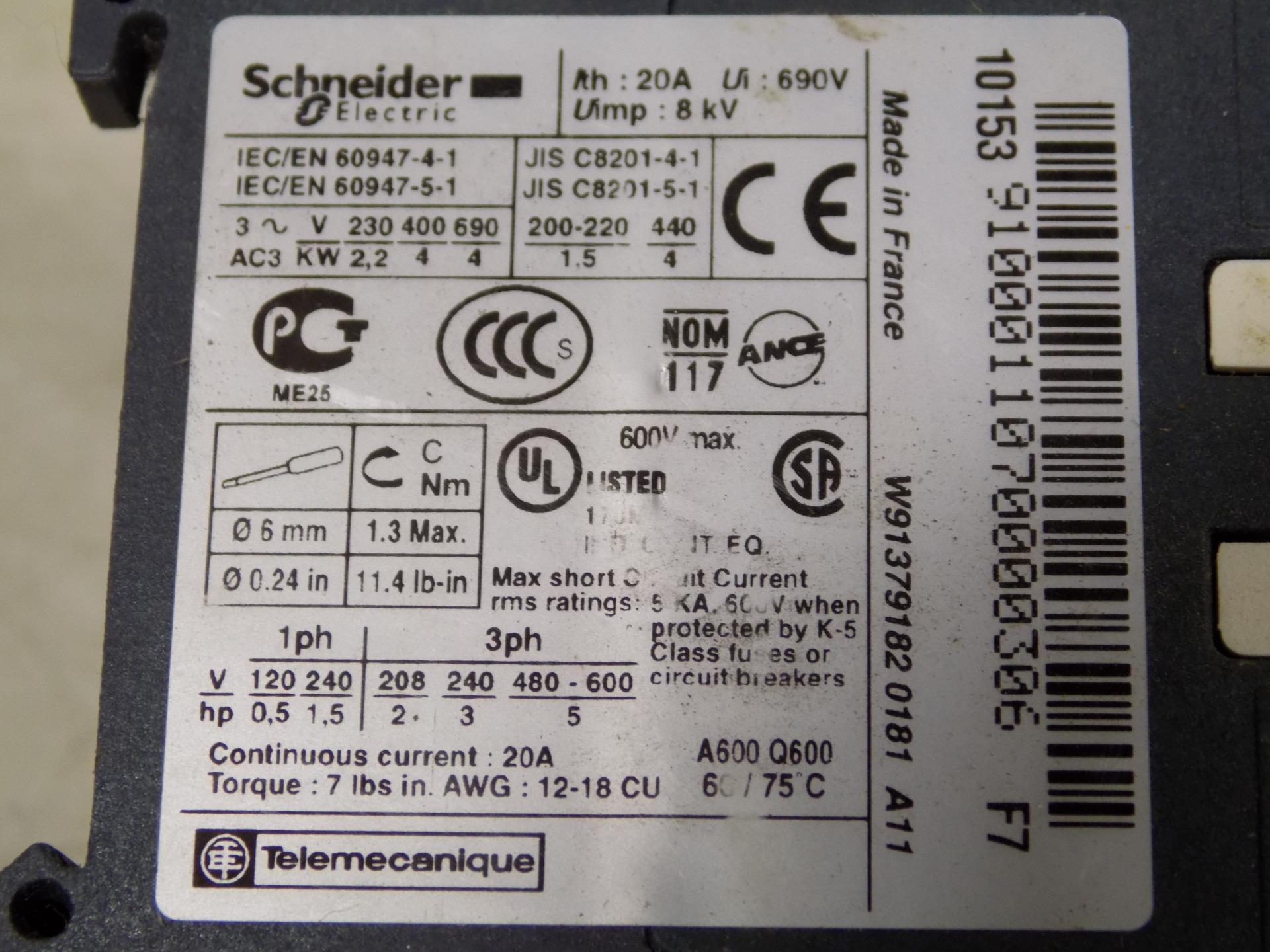SCHNEIDER ELECTRIC 110V CONTACTOR LC1K09 | eBay