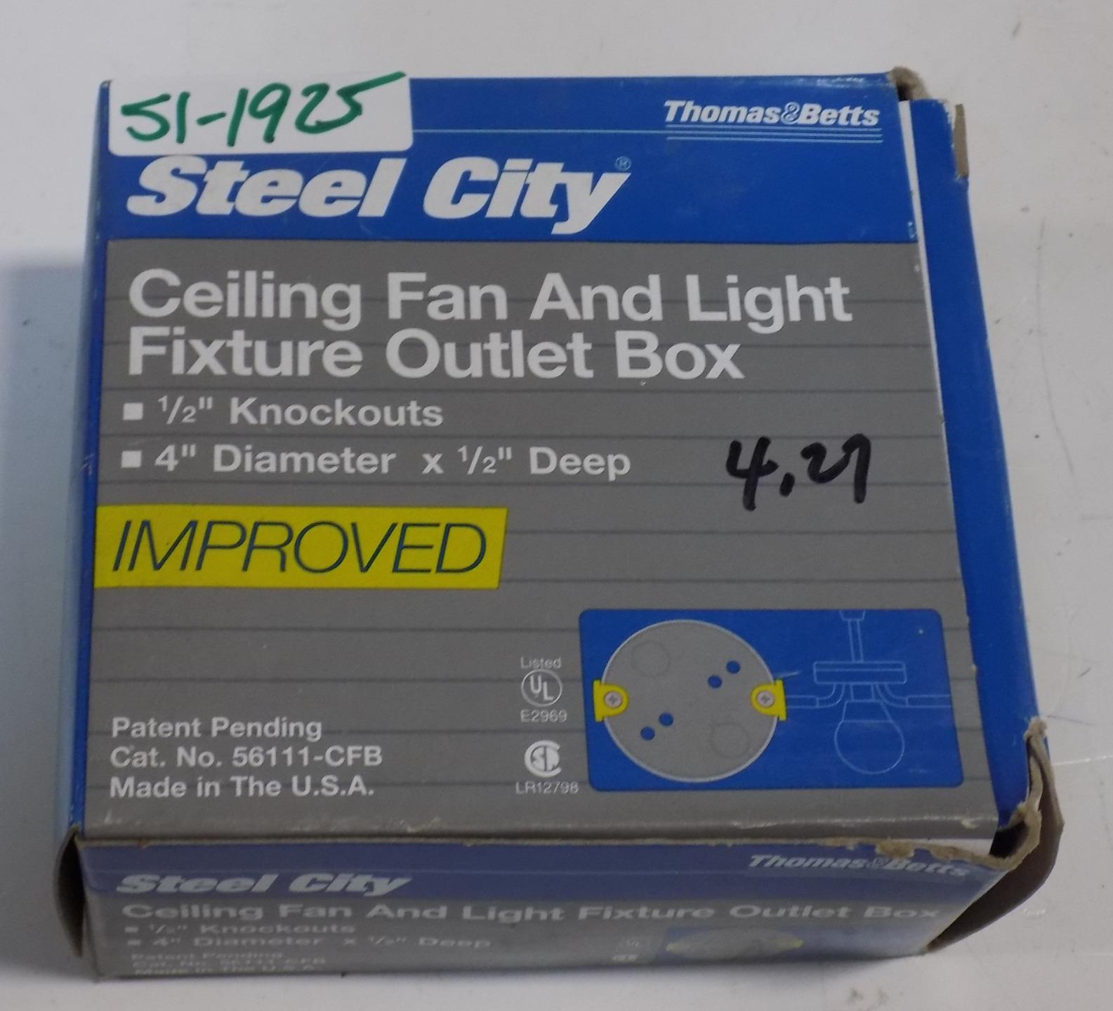 Details about thomas betts steel city ceiling fan light fixture outlet box 56111 cfb nib