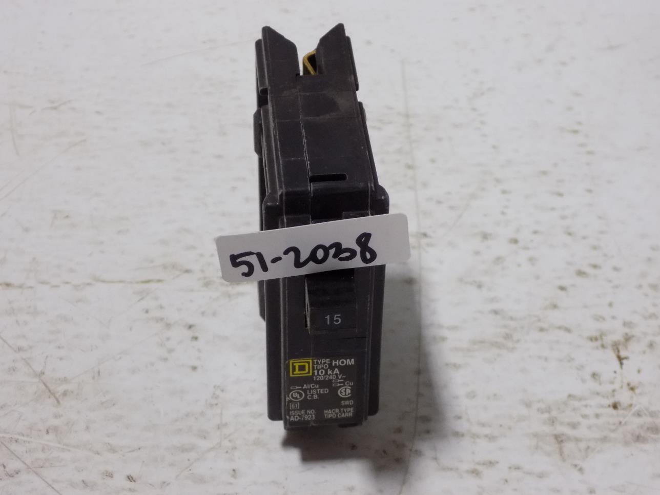 SQUARE D TYPE HOM120  1POLE 20AMP 120//240V CIRCUIT BREAKER w25